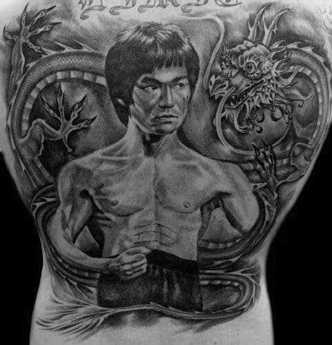 Full Back Heavily Shaded Bruce Lee Tattoo On Men