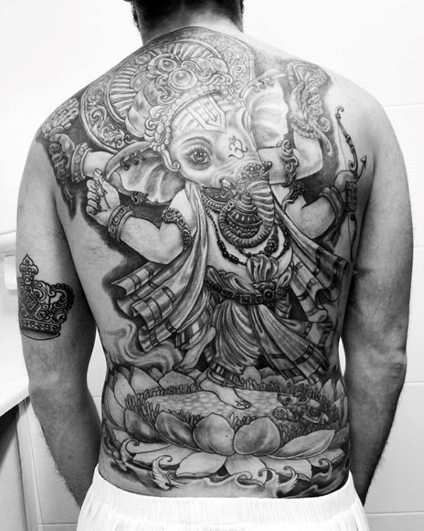 Full Back Hinduism God Ganesha Mens Tattoo Ideas