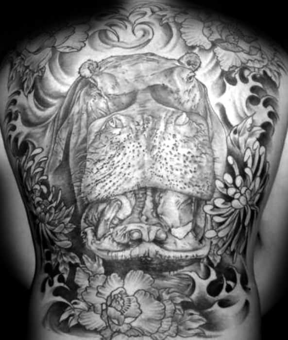 Full Back Hippo Tattoos For Gentlemen