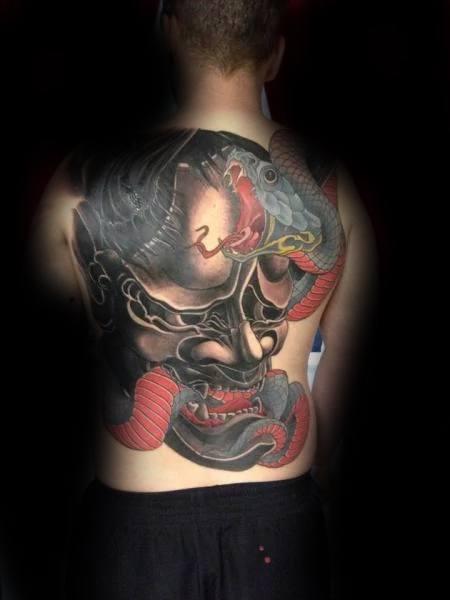 Full Back Japanese Demon Mask Snake Mens Tattoos