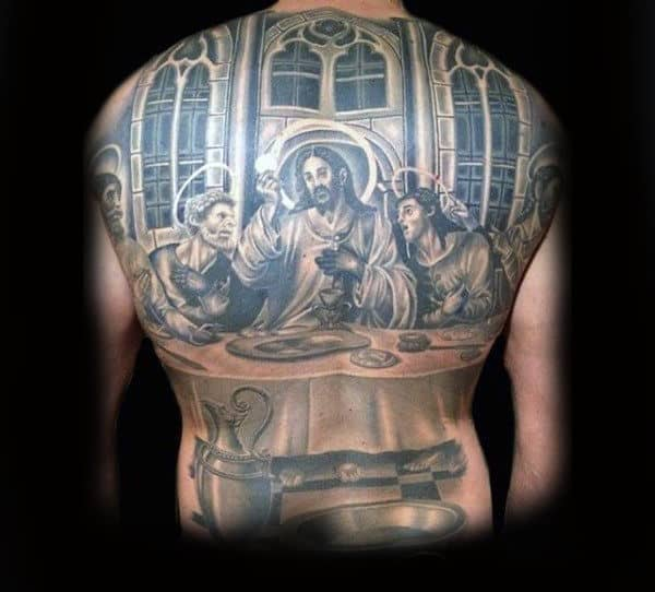 Full Back Jesus Last Supper Christianity Tattoos