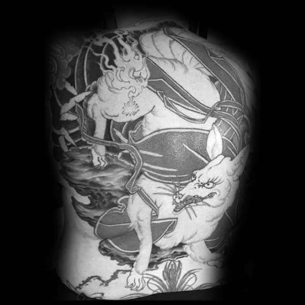 Full Back Kitsune Shaded Mens Tattoo Design Inspiration
