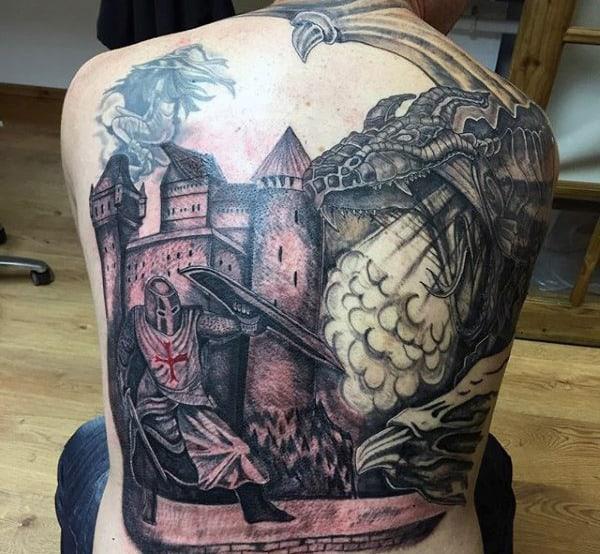 Full Back Knight Tattoo For Men