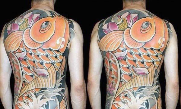 Full Back Koi Fish Extreme Guys Japanese Tattoo Designs