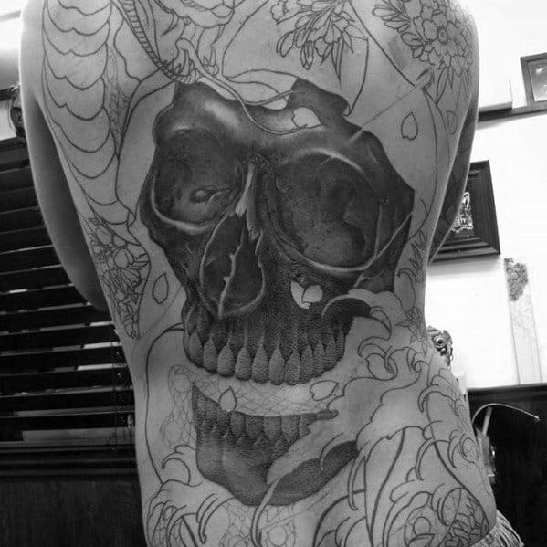 Full Back Laughing Skull Guys Japanese Tattoos