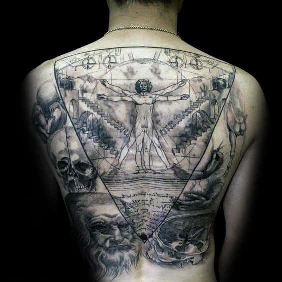 Full Back Leonardo Da Vinci Themed Mens Vitruvian Man Drawing Back Tattoos