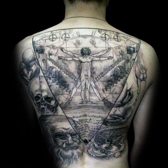 Full Back Leonardo Da Vinci Themed Mens Vitruvian Man Drawing Back Tattoos