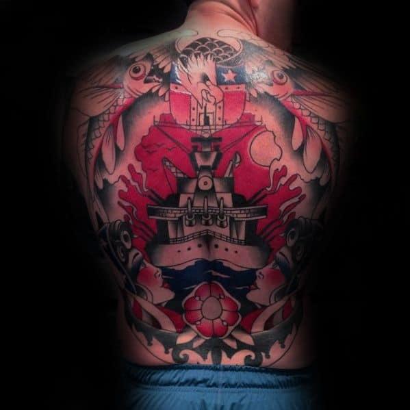 Full Back Male Battleship Tattoo Design Inspiration