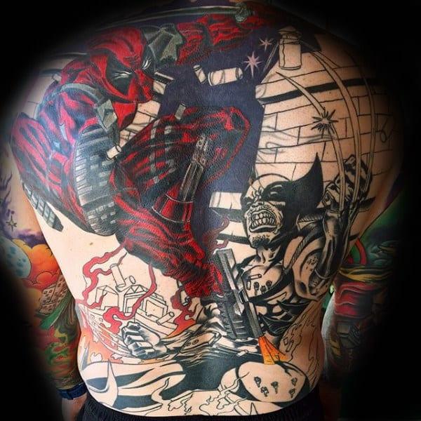 Full Back Male Deadpool Tattoo