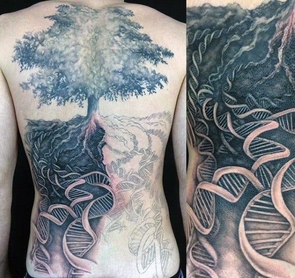 Full Back Male Dna Tree Tattoo Ideas