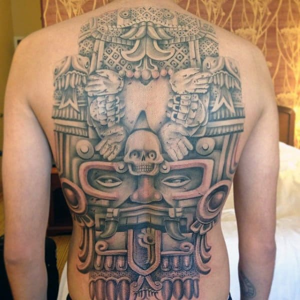 Full Back Male Mayan Symbols Tattoo Design Ideas