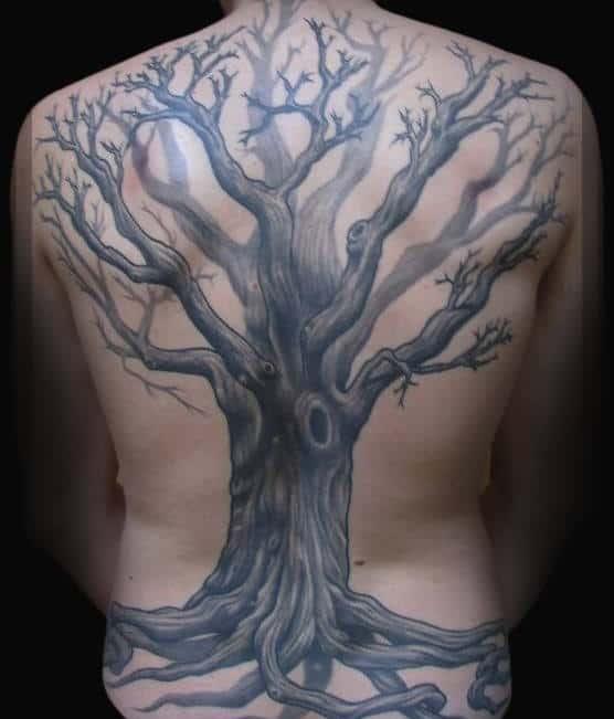 Full Back Male Oak Tree Tattoo Idea Designs