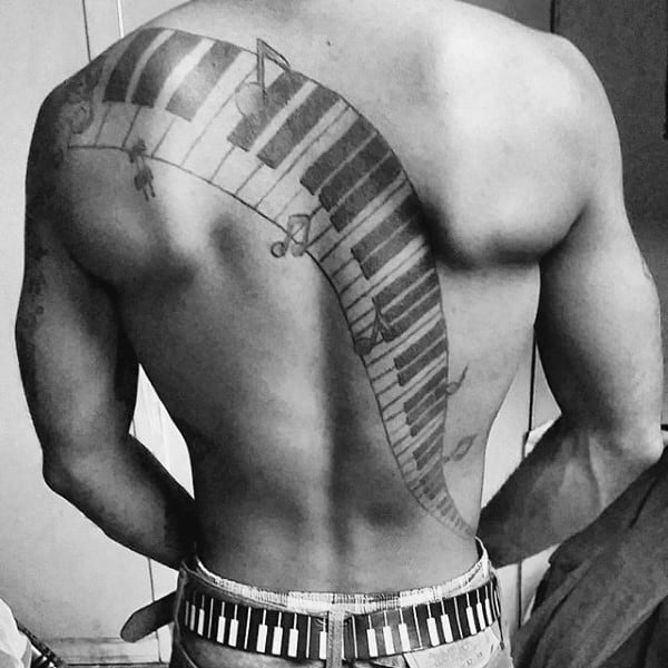 Full Back Male Piano Keys Tattoo Ideas With Black Ink Design