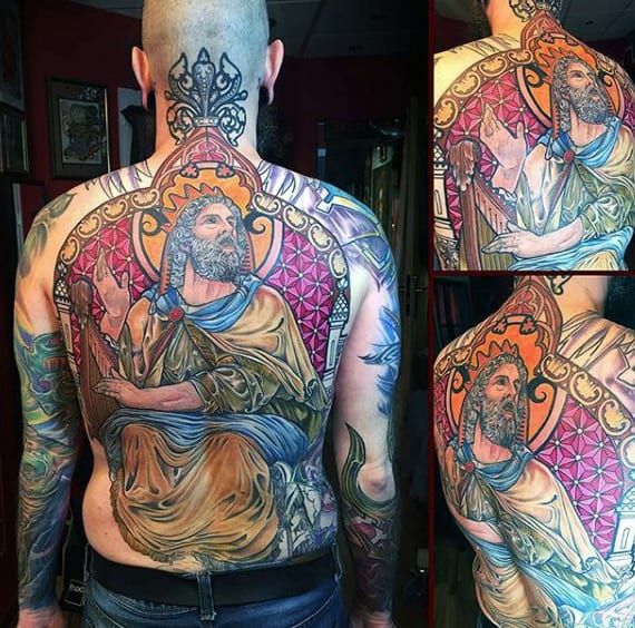 Full Back Male Stained Glass Tattoos