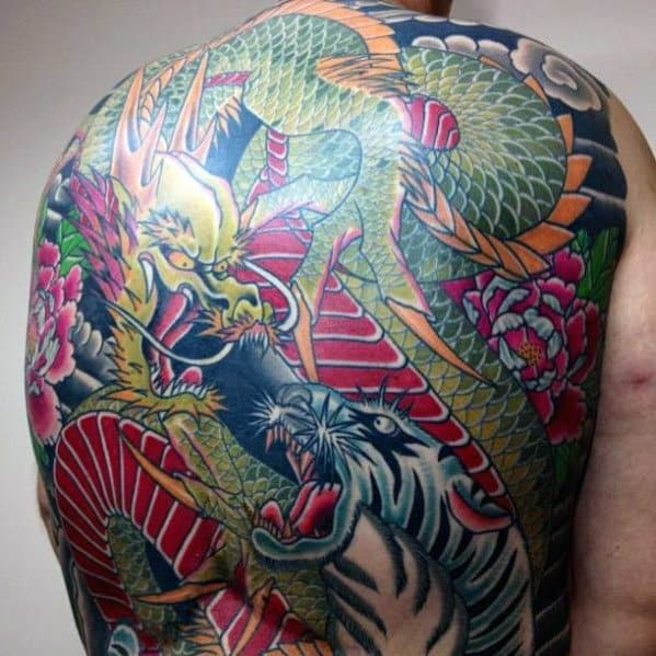 Full Back Male Tiger Dragon Tattoo Design Inspiration