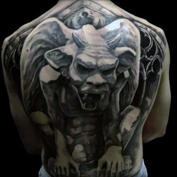 Full Back Manly Mens Dark Gargoyle Tattoo With 3d Design