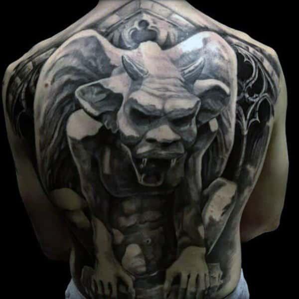 Full Back Manly Mens Dark Gargoyle Tattoo With 3d Design