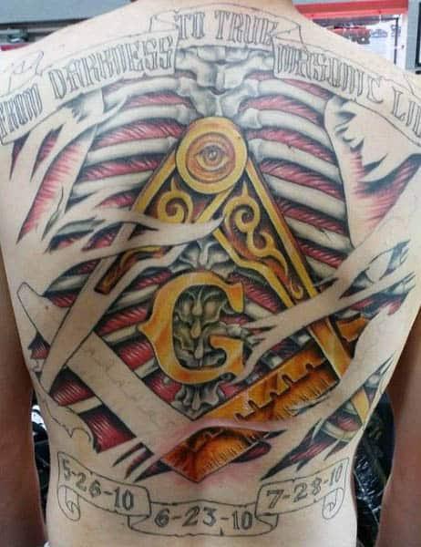 Full Back Masonic Themed Mens Tattoos
