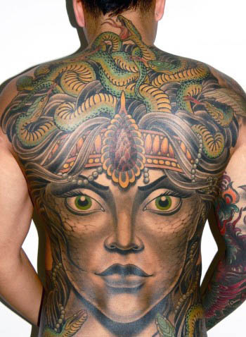 Full Back Medusa Mens Tattoos