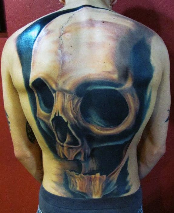 Full Back Mens 3d Realistic Skull Tattoo Design Ideas