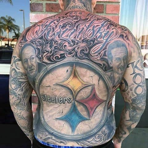 Full Back Mens 3d Stone Pittsburgh Steelers Tattoo Designs
