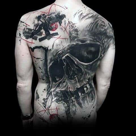 Full Back Mens 3d Trash Polka Skull Tattoo