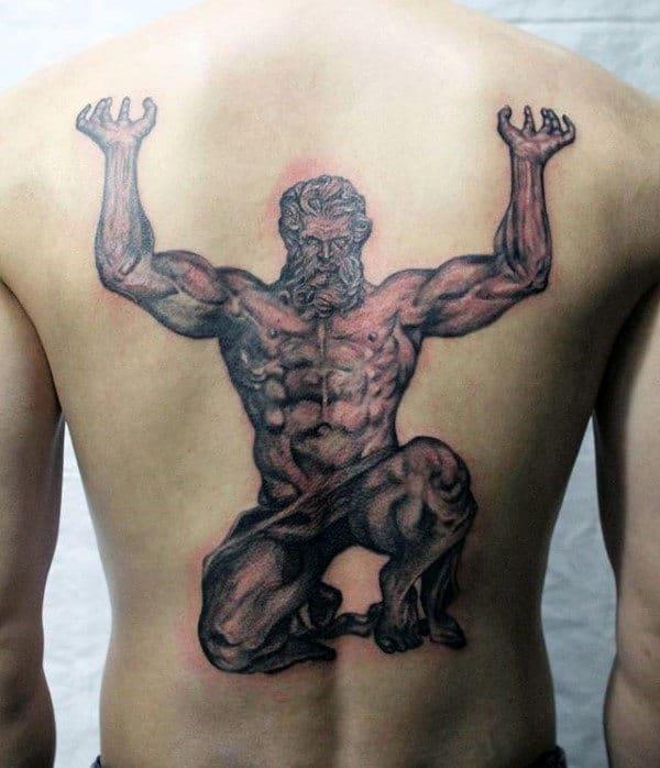 Full Back Mens Atlas Tattoo Designs