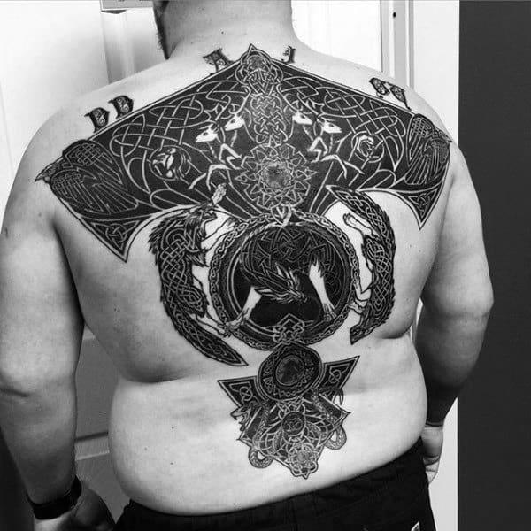 Full Back Mens Blackwork Celtic Knot Tattoo Ideas
