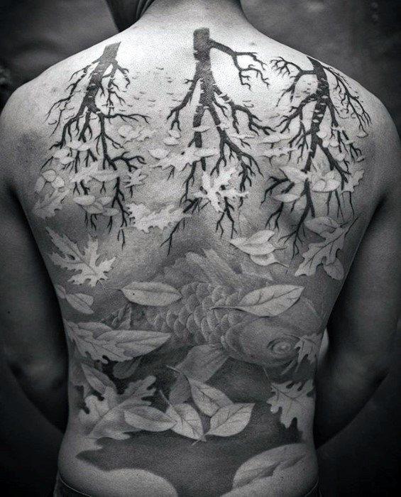 Full Back Mens Cool Mc Escher Tattoo Ideas