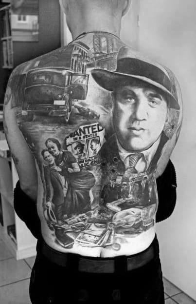 Full Back Mens Gangster Themed Tattoo Design Ideas