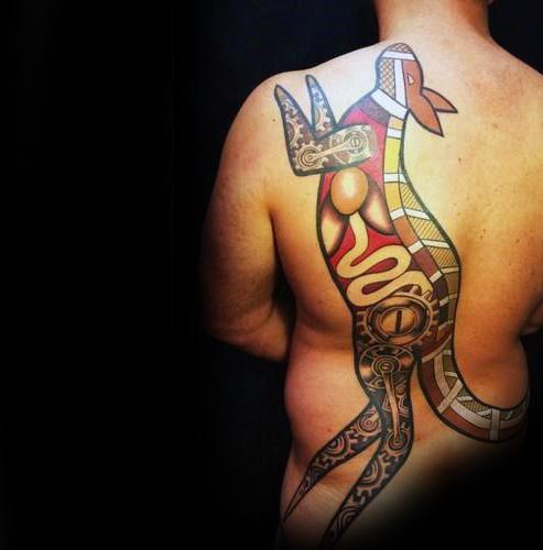 Full Back Mens Kangaroo Tattoo Design Inspiration