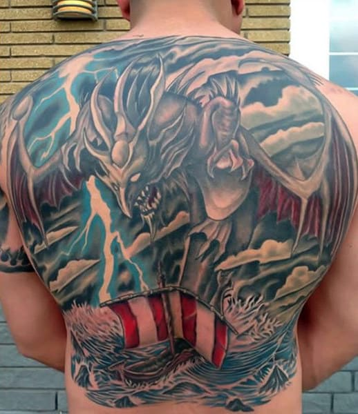 Full Back Mens Lightning Tattoo Designs