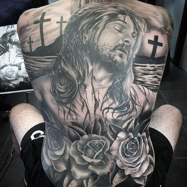 Full Back Mens Rose And Cross Jesus Tattoos