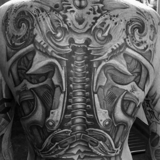 Full Back Mens Tattoo With Spine Bones