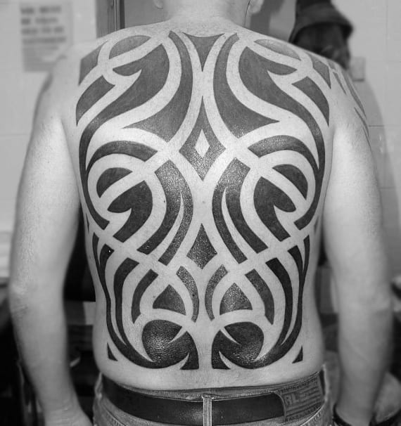 Full Back Mens Tribal Tattoo Designs With Negative Space Ideas