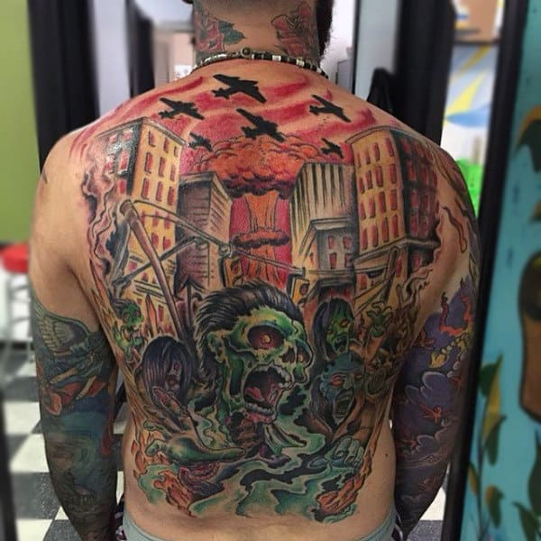 Full Back Mens Zombie City Skyline Tattoo Ideas