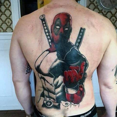 Full Back Muscular Deadpool Guys Tattoos
