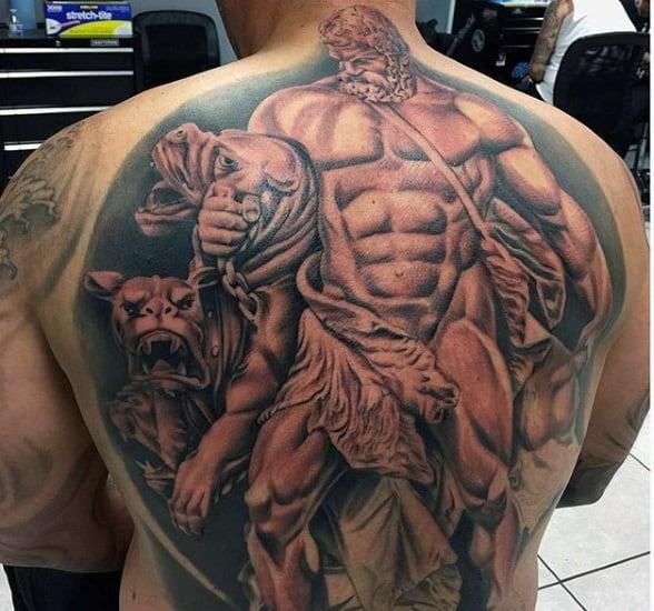 Full Back Muscular Greek Hercules Tattoo For Guys