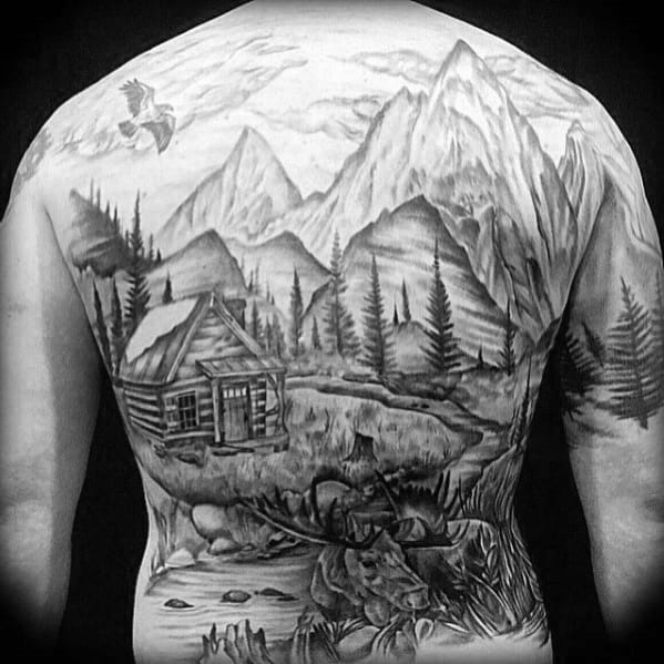 Full Back Nature Landscape With Cabin Mens Tattoos