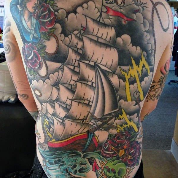 Full Back Nautical Mens Ship Tattoos