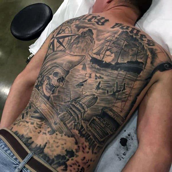 Full Back Nautical Pirate Mens Tattoos