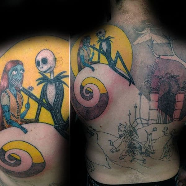 Full Back Night Before Christmas Male Tattoo Of Jack With Sally