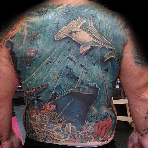 Full Back Ocean Shipwreck Mens Tattoo Designs