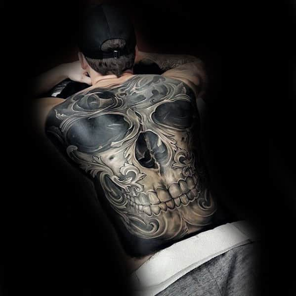 Full Back Ornate 3d Skull Tattoo Ideas For Men