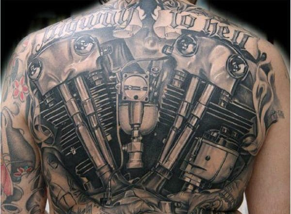Full Back Realistic Engine Biker Tattoos Designs For Males