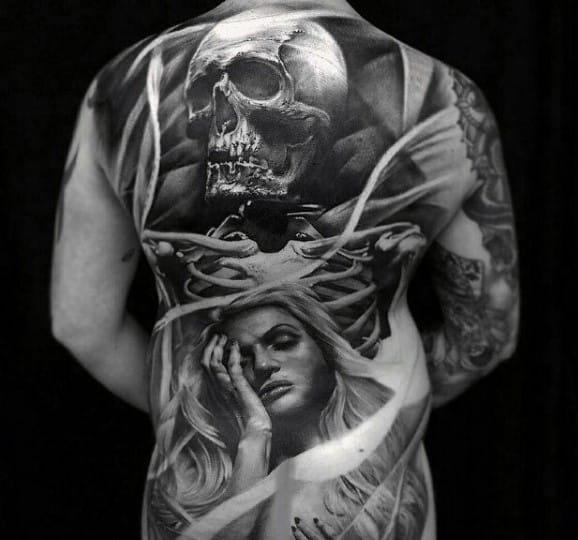 Full Back Realistic Skeleton With Female Portrait Male Life Death Tattoos