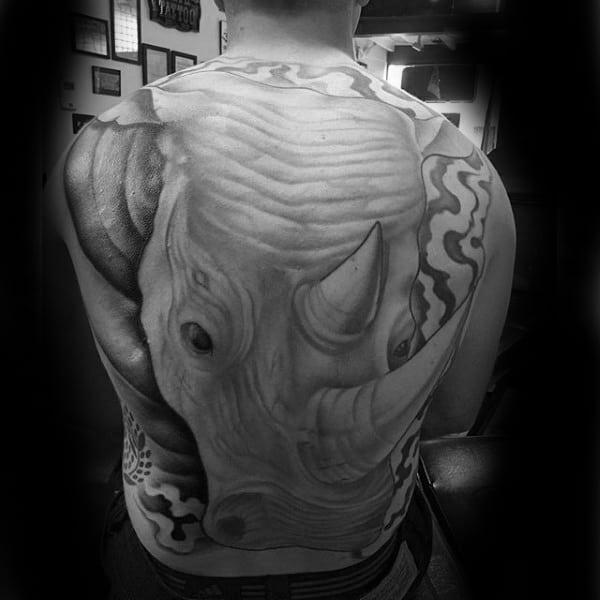 Full Back Rhino Male Tattoo Design Ideas