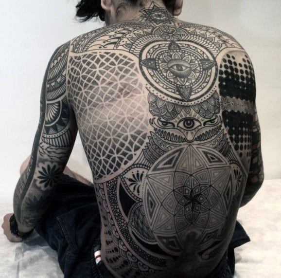 Full Back Sacred Geometry Tattoo In Black Ink For Men