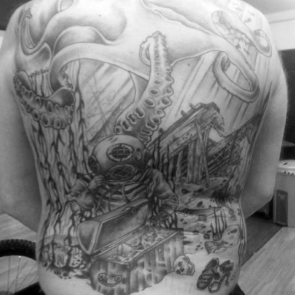 Full Back Shaded Black And Grey Guys Shipwreck Tattoo Design Ideas