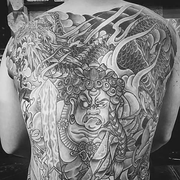 Full Back Shaded Fudo Myoo Mens Tattoo Designs